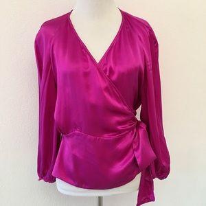 Diane von Furstenberg Silk Magenta Wrap Blouse 8
